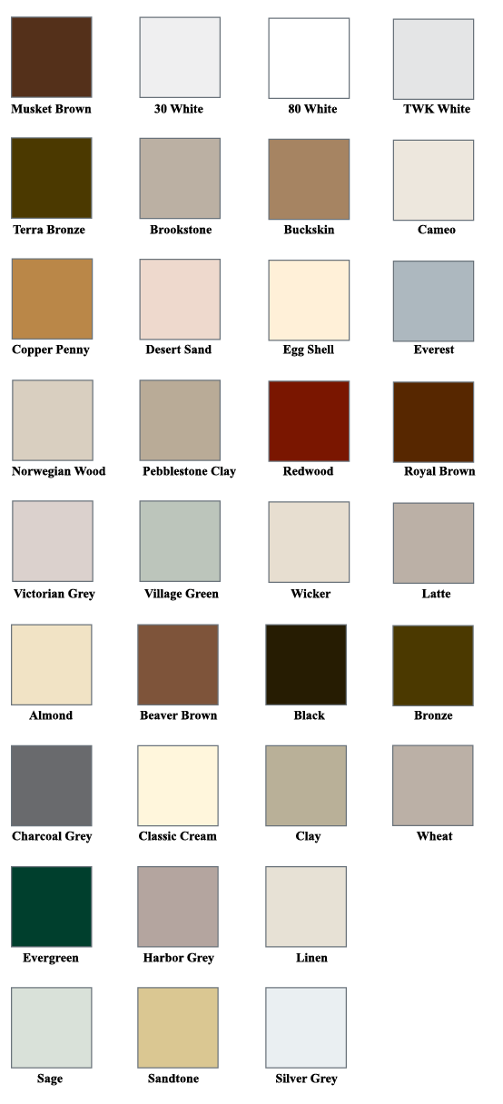 Color Chart Bhd Rain Gutters Northeast Oh